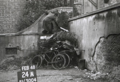 Ordnance Survey official marking point revision in Brighton, Feb 1938